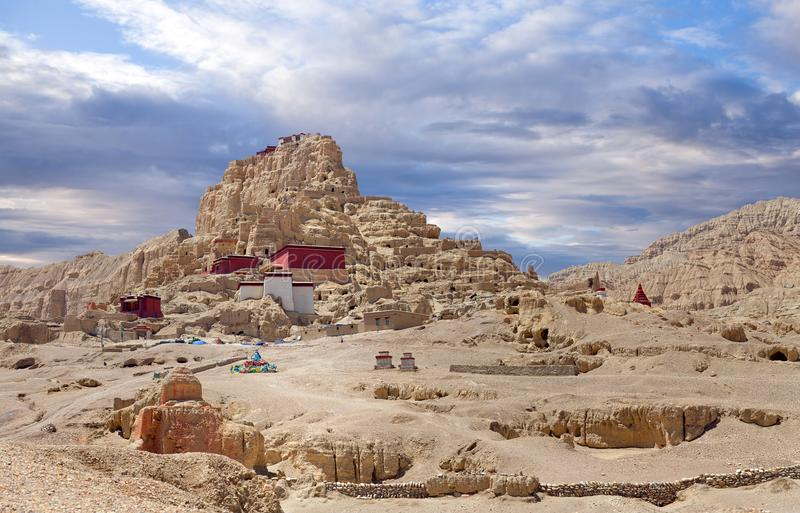 Tsaparang, the ruins of the ancient capital of Guge Kingdom and. Tsaparang citadel, the ruins of the ancient capital of Guge Kingdom and Tholing Monastery, Tibet royalty free stock image