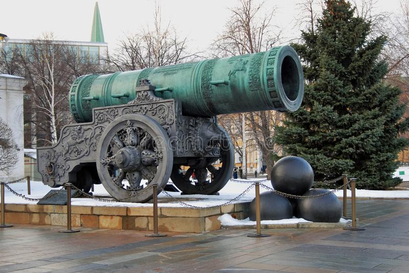 Tsar Pushka (King Cannon) in Moscow Kremlin. Color photo. Tsar Pushka (King Cannon) in Moscow Kremlin. UNESCO World Heritage Site. Color photo. Winter scene royalty free stock image