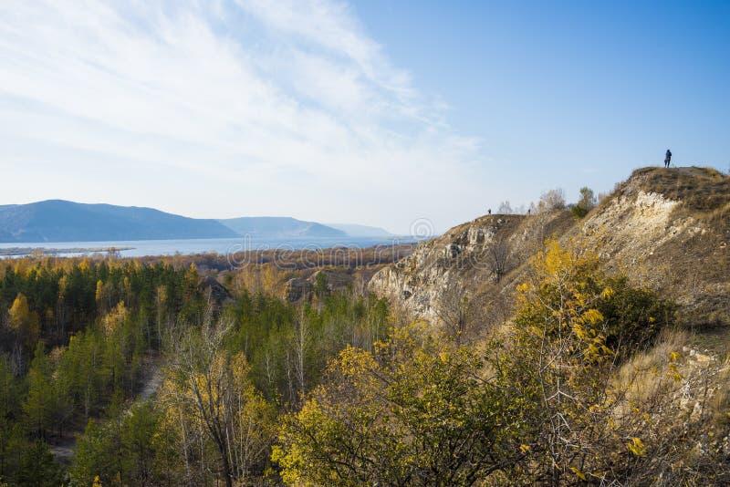 Tsarev kurgan. Attraction of the Samara region. On a Sunny autumn day.  stock photo