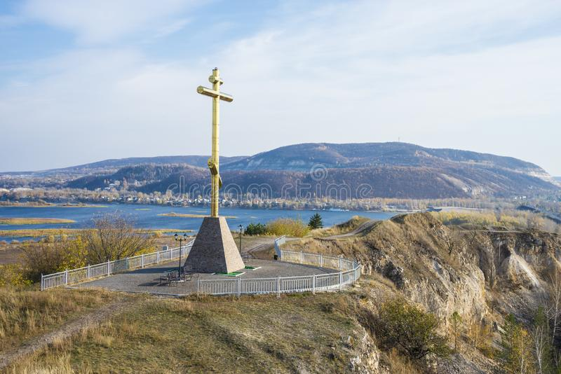 Tsarev kurgan. Attraction of the Samara region. On a Sunny autumn day.  stock photography