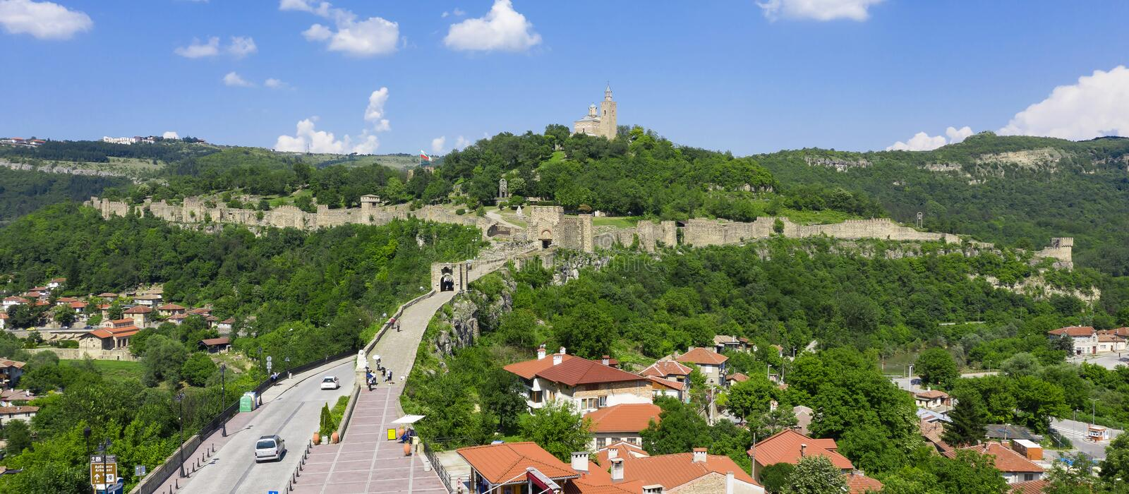 Panorama of Tsarevets Fortress stock photography