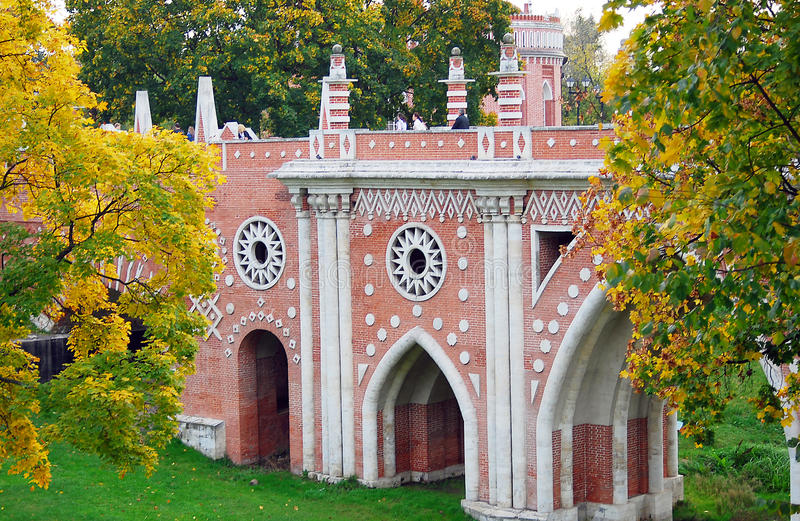 Tsaritsyno公园,莫斯科结构。 免版税库存图片
