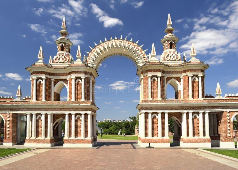 Tsaritsyno,女王叶卡捷琳娜二世宫殿曲拱  免版税库存照片