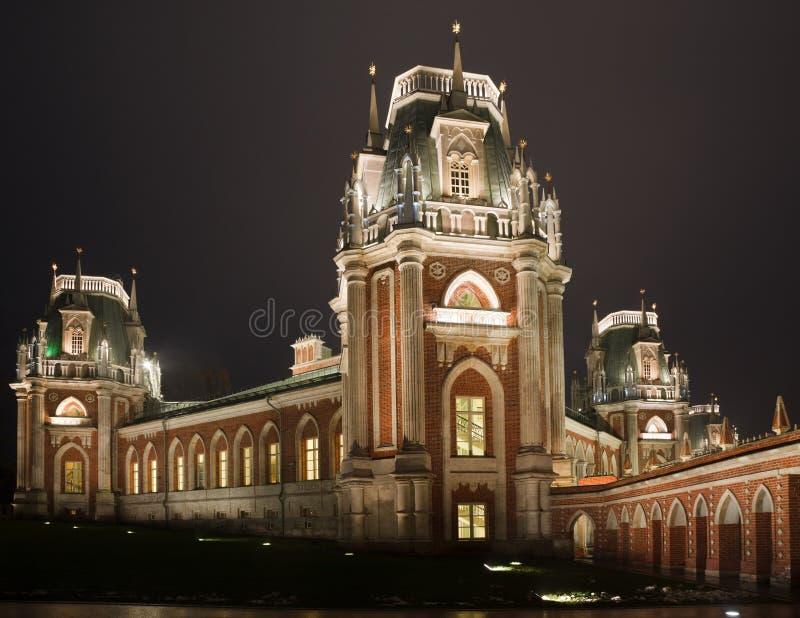 tsaritsyno för reserv för natt för slottlightingmuseum fotografering för bildbyråer