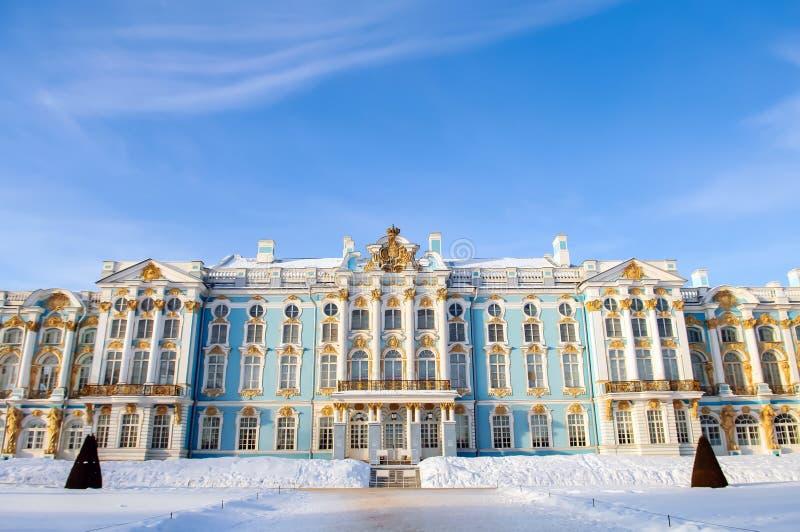 Tsarskoe Selo i vinter arkivfoto