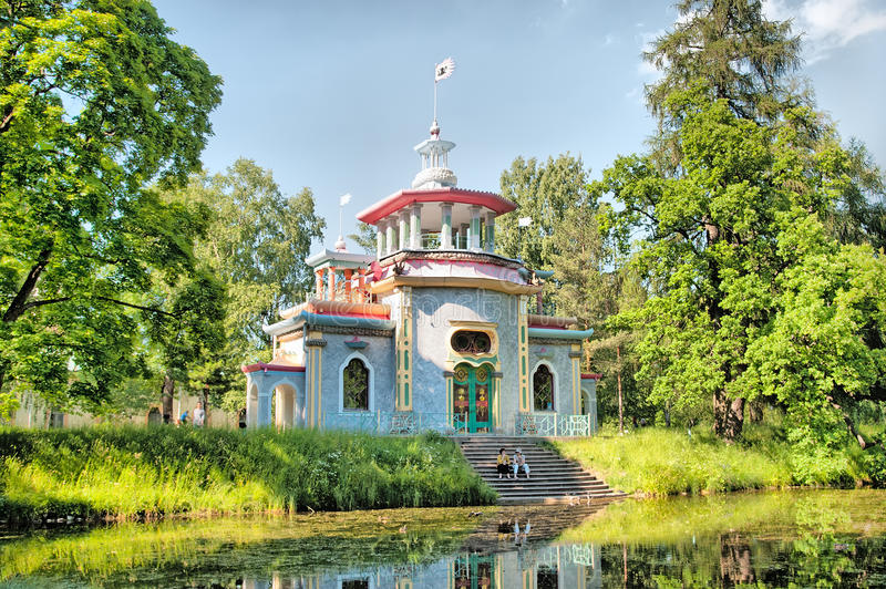 Tsarskoye Selo (Pushkin). Saint-Petersburg, Russia. The Creaking (Chinese) Summer-House stock photo