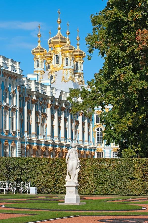 Tsarskoye Selo (Pushkin) St Petersburg Rússia Catherine Park e o palácio imagem de stock