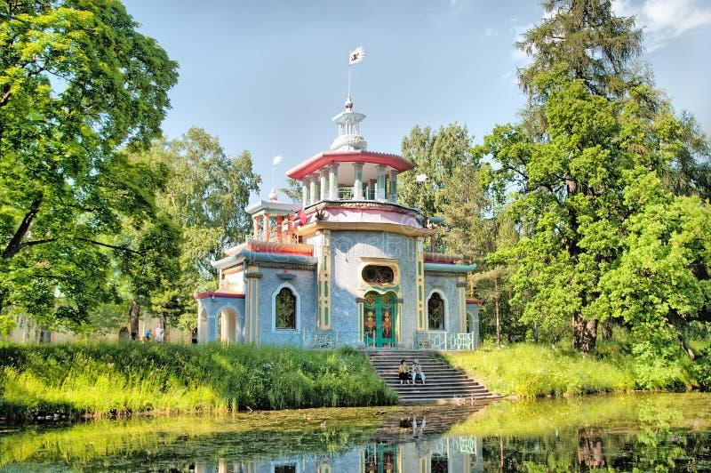 Tsarskoye Selo (Pushkin) St Petersburg, Rússia A verão-casa rangendo (do chinês) foto de stock