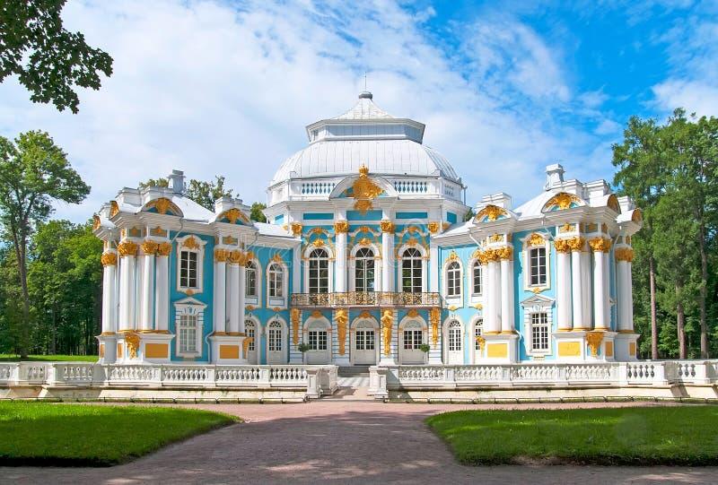 Tsarskoye Selo (Pushkin), St Petersburg, Ryssland Eremitboningpaviljongen royaltyfri fotografi