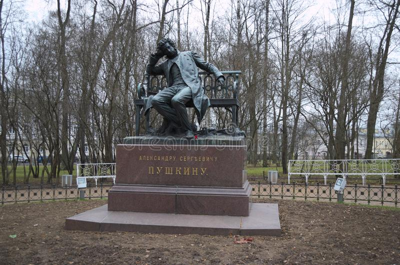 TSARSKOYE SELO, RUSSIE - 25 NOVEMBRE 2018 : monument vers Pushkin image libre de droits