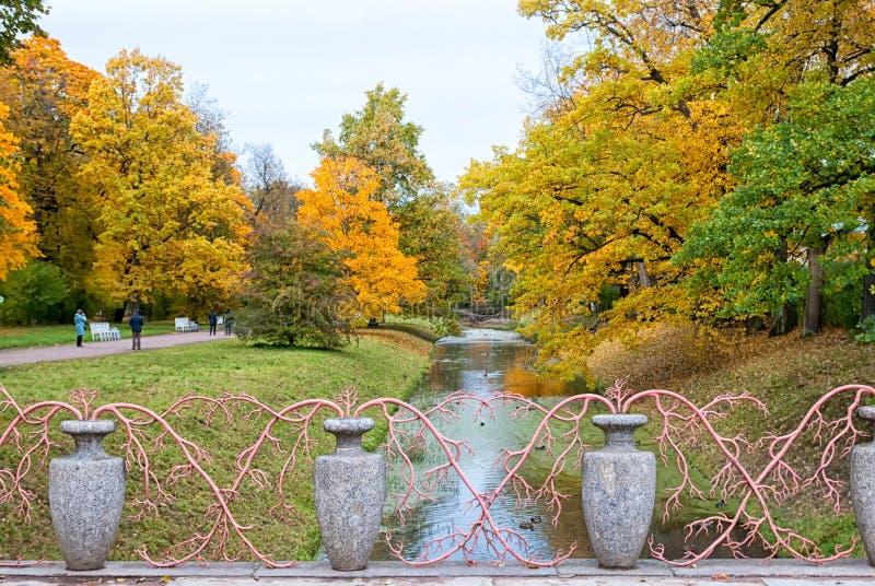Bridge with vases in Alexander Park. Pushkin. Tsarskoye Selo. Russia royalty free stock image