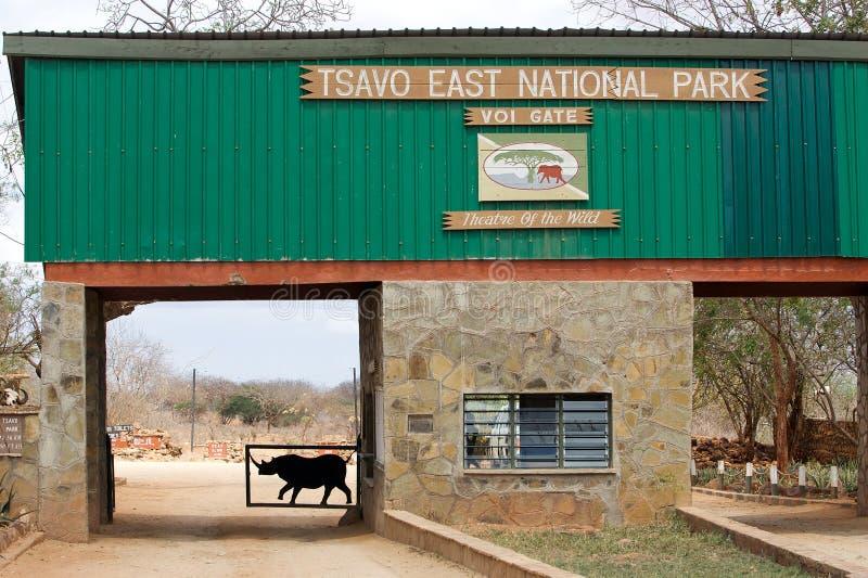 Tsavo Ostnationalparkgatter lizenzfreies stockfoto