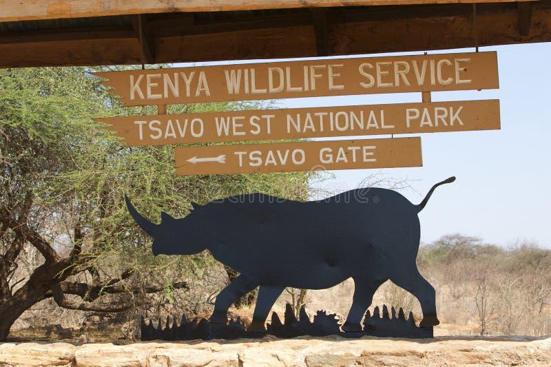 Tsavo Westnationalparkgatter stockfoto