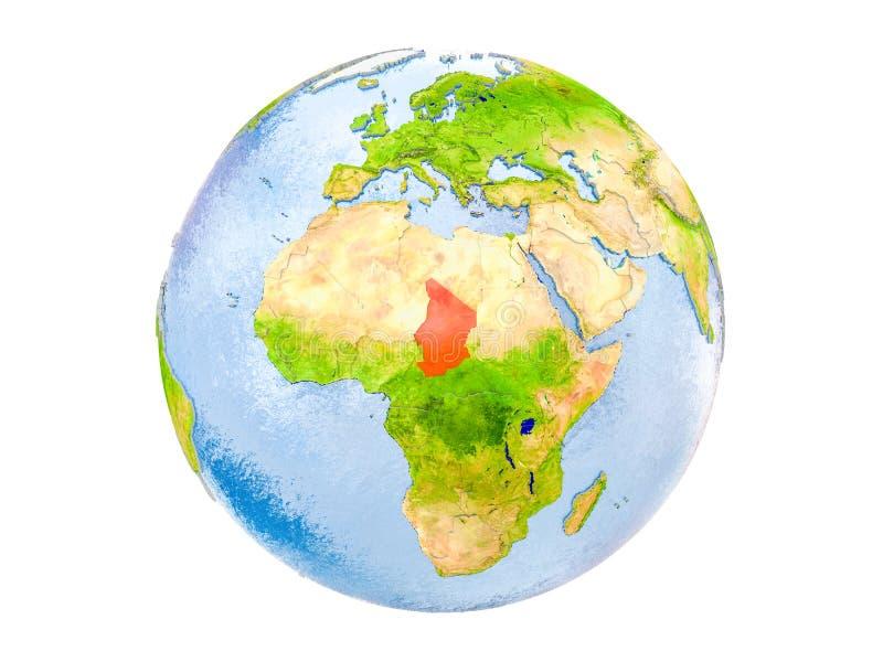 Tschad auf der Kugel lokalisiert lizenzfreies stockbild