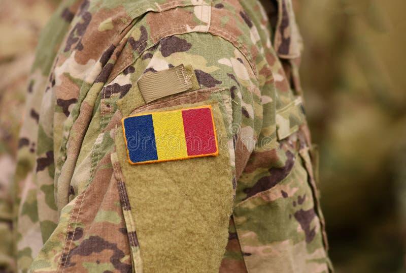 Tschad-Flagge auf Soldaten bewaffnen Republik Tschads-Truppencollage stockfotos