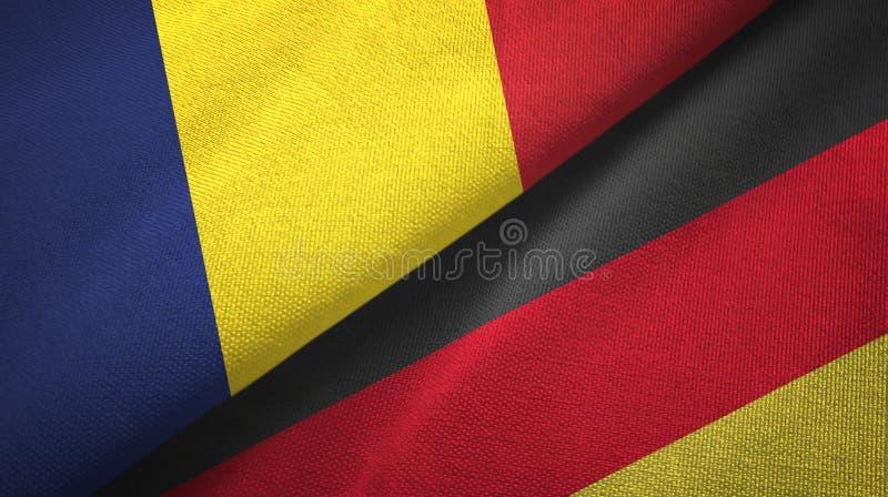 Tschad- und Deutschland-zwei Flaggentextilstoff, Gewebebeschaffenheit lizenzfreie stockfotos