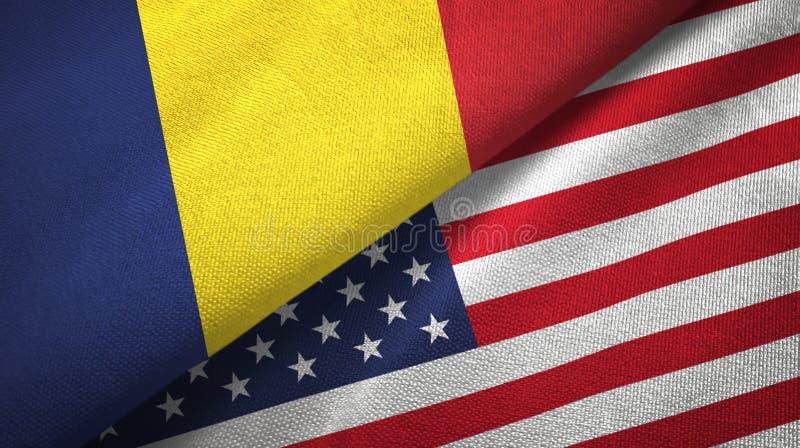 Tschad- und Staat-zwei Flaggentextilstoff, Gewebebeschaffenheit lizenzfreie stockfotografie