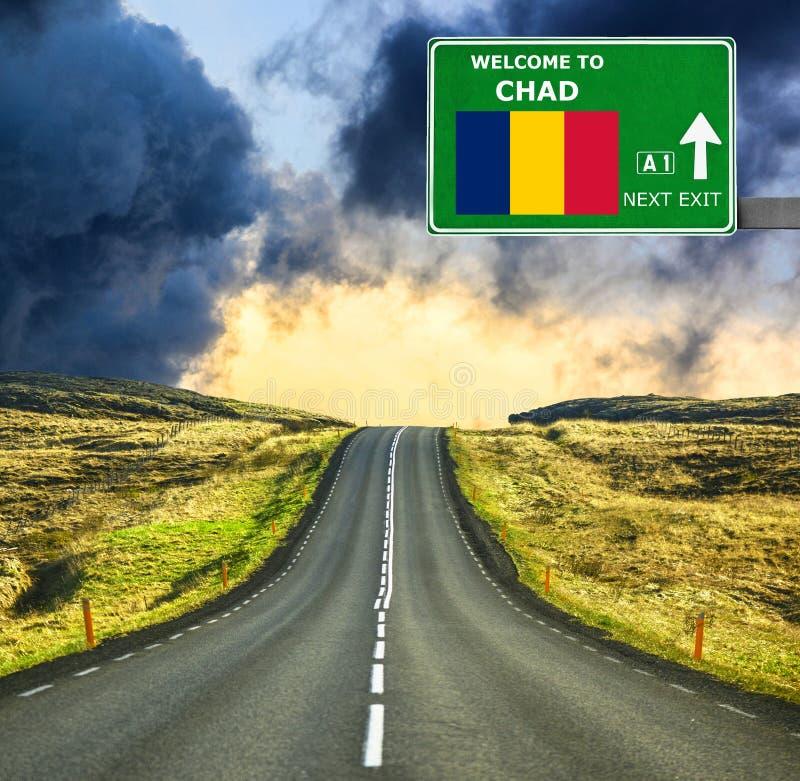 Tschad-Verkehrsschild gegen klaren blauen Himmel stockfoto