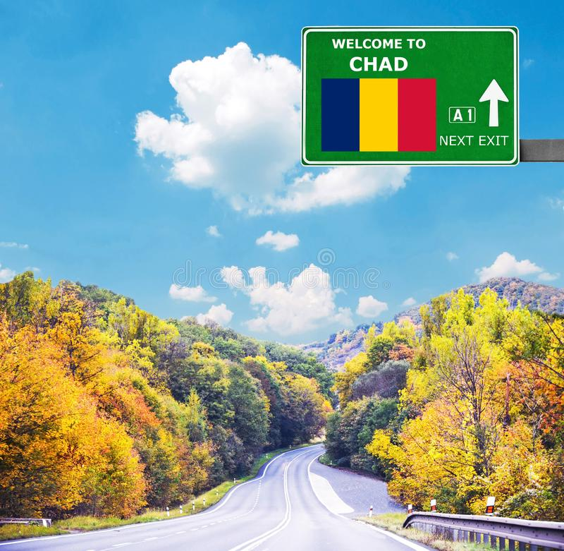 Tschad-Verkehrsschild gegen klaren blauen Himmel lizenzfreie stockfotografie
