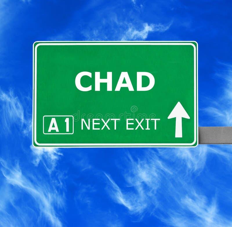 Tschad-Verkehrsschild gegen klaren blauen Himmel stockbilder
