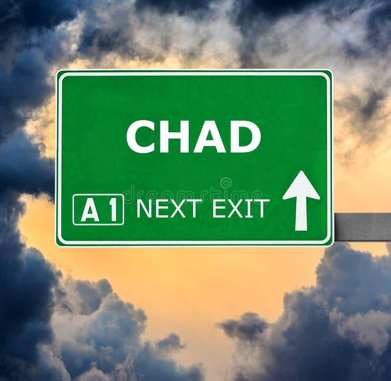 Tschad-Verkehrsschild gegen klaren blauen Himmel lizenzfreie stockfotos