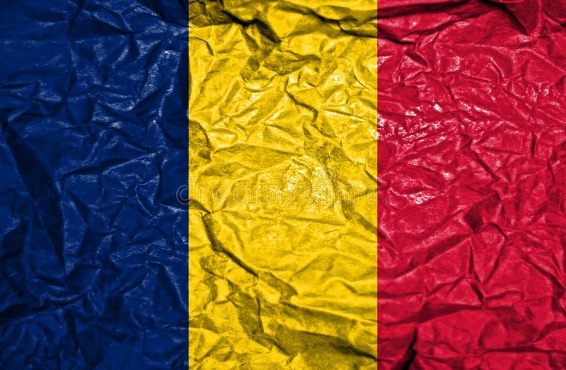 Tschad-Weinleseflagge auf altem zerknittertem Papierhintergrund stockfoto