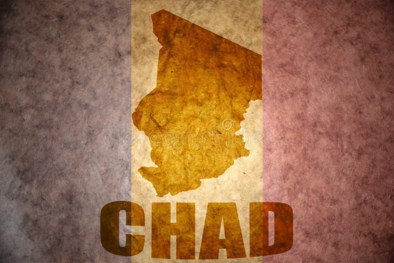Tschad-Weinlesekarte lizenzfreie stockfotografie