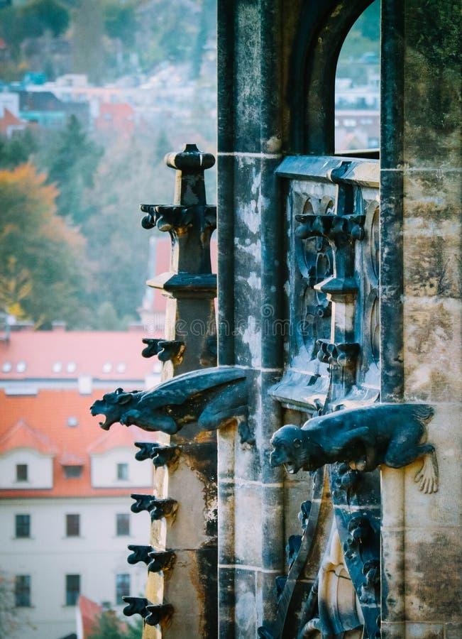 Tscheche, Prag, Teil des Heiliges Vitus-Wasserspeier-Kathedralendekorums stockbilder