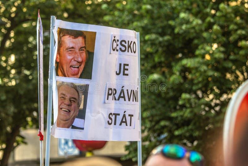 Tschechische Demonstrationsfahnen stockbilder