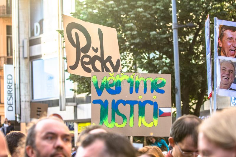 Tschechische Demonstrationsfahnen lizenzfreie stockbilder