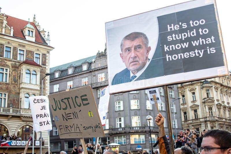Tschechische Demonstrationsfahnen lizenzfreie stockfotografie