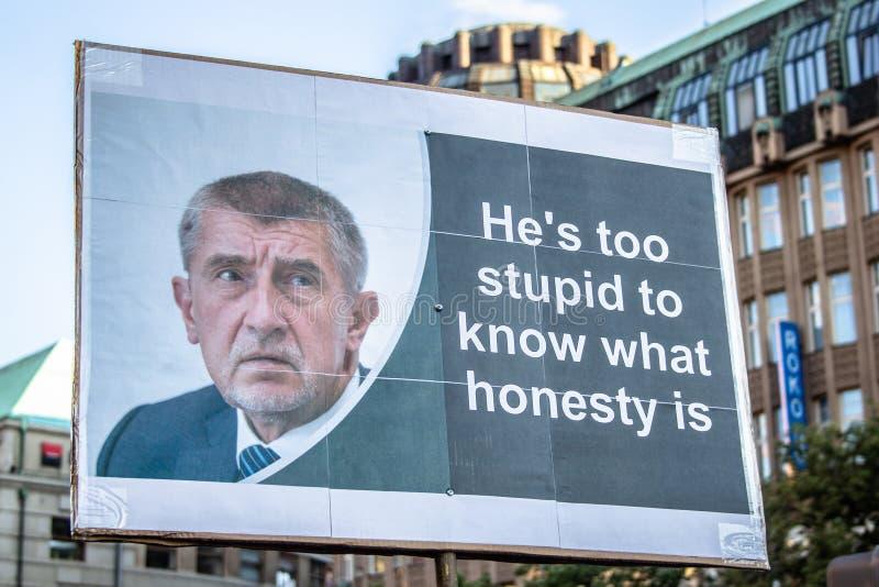 Tschechische Demonstrationsfahnen stockfoto