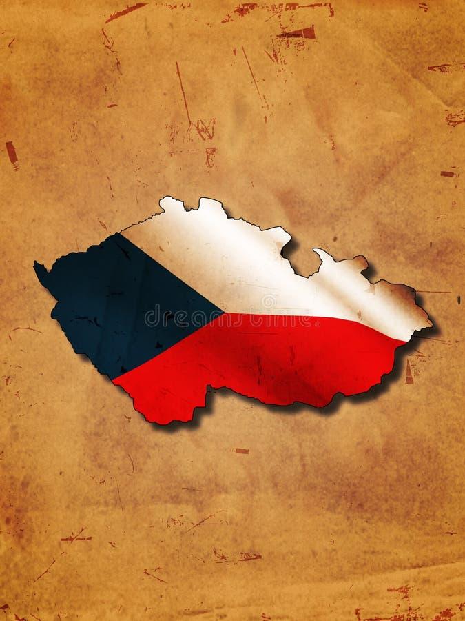 Tschechische Karte mit Markierungsfahne stock abbildung