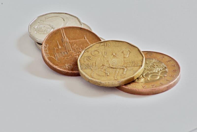 Tschechische Münzen, Kronen stockfotos