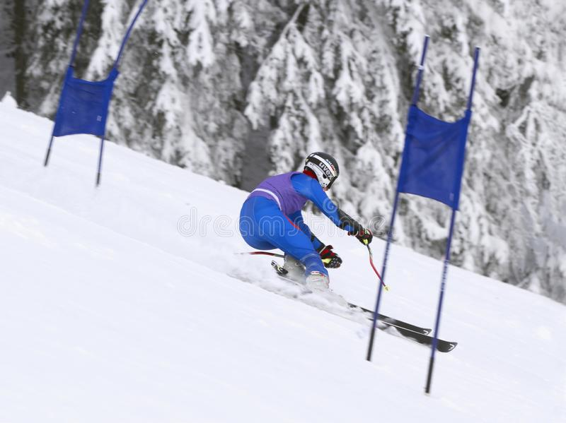 Tschechische Republik JANUAR, 26 2013 Junger Athletenskifahrer während abschüssigen Blau, Vorstand, Kostgänger, Einstieg, Übung,  stockbild