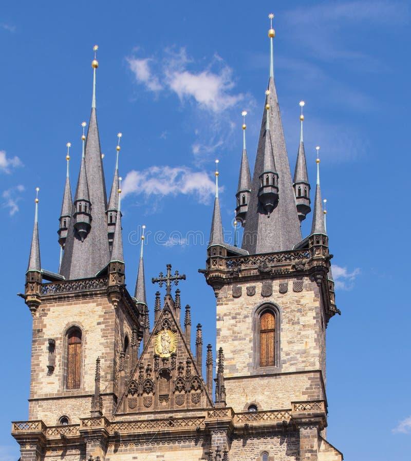 Tschechische Republik, Kirchturm Prags Tyn, 2017 08 01 Schöne Kathedrale des historischen Gebäudes in Prag stockfoto