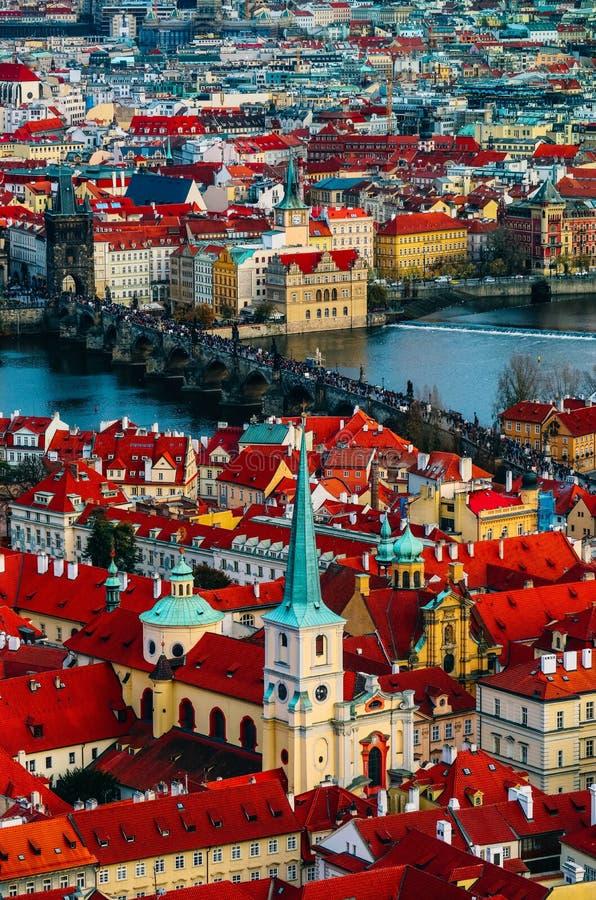 Tschechische Republik, Prag-Stadtpanorama Stadt-Prag-Panoramablick stockfotografie