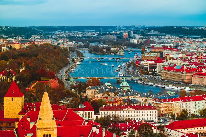 Tschechische Republik, Prag-Stadtpanorama Stadt-Prag-Panoramablick stockfotos