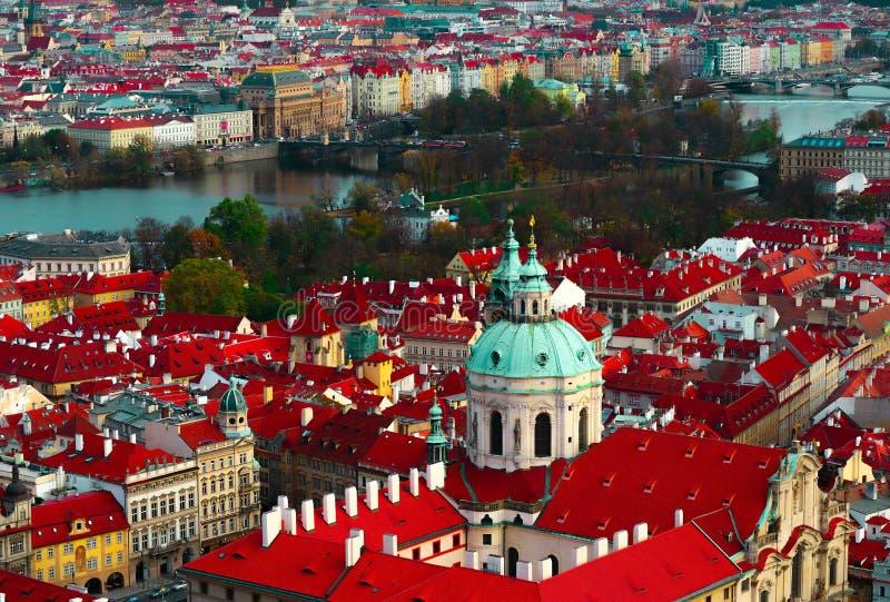 Tschechische Republik, Prag-Stadtpanorama Stadt-Prag-Panoramablick stockbilder