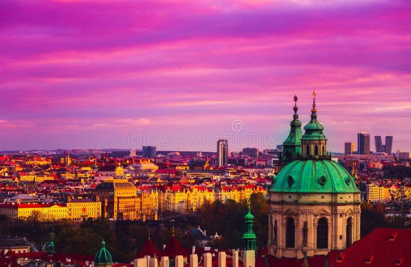 Tschechische Republik, Prag-Stadtpanorama Stadt-Prag-Panoramablick stockbild