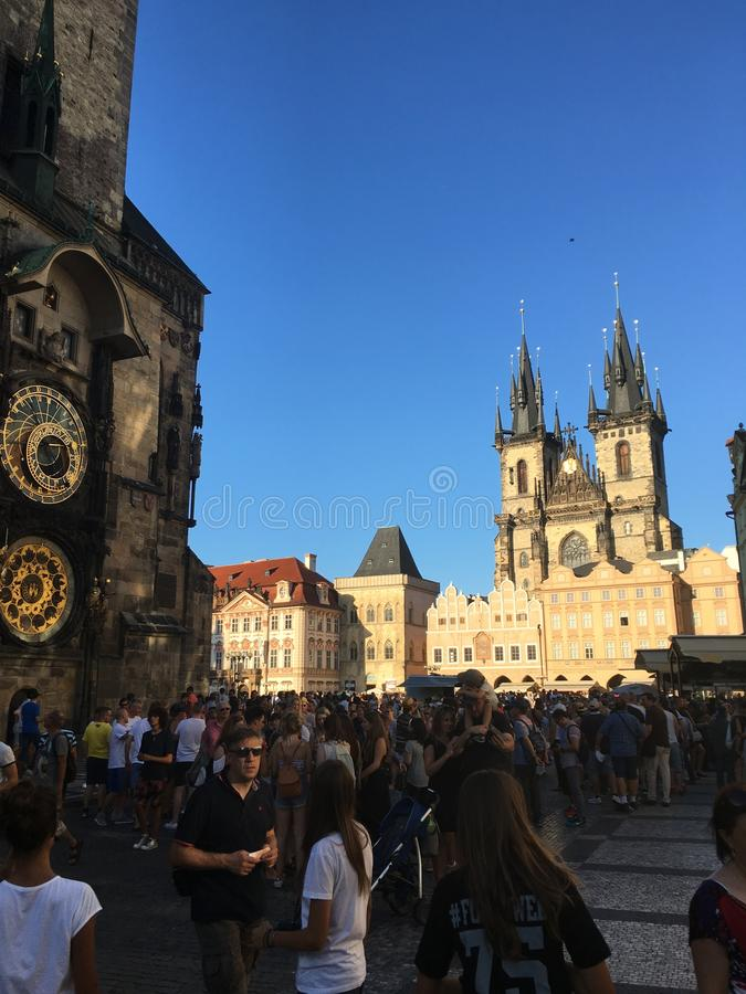 Tschechische Republik Wenceslas Square-Uhr Prags stockbilder