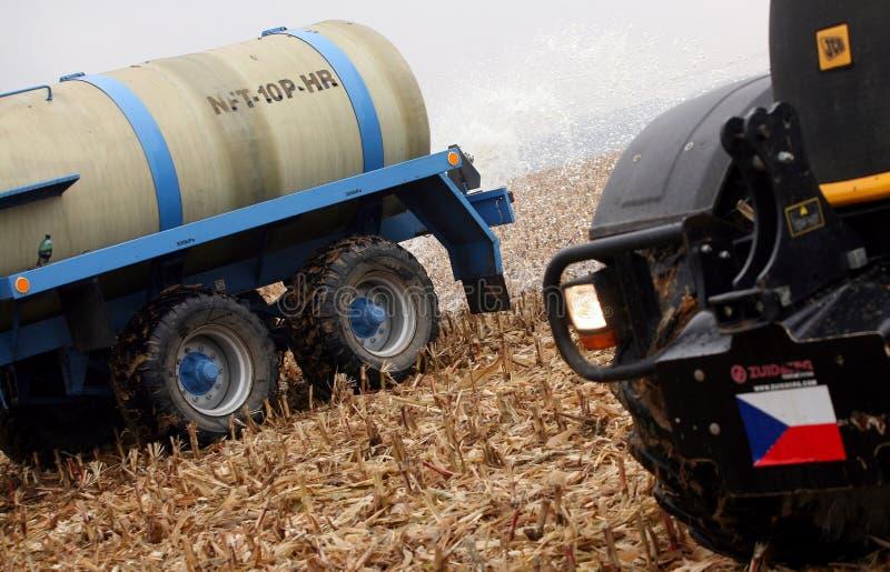 Tschechischer Landwirtmilchprotest lizenzfreies stockbild