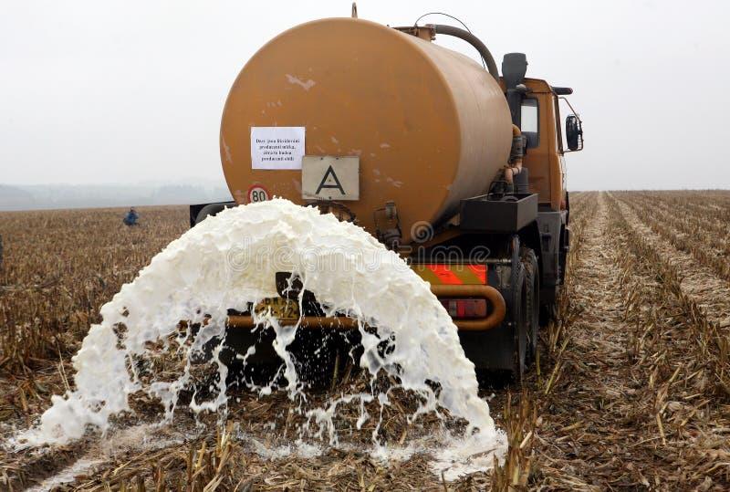 Tschechischer Landwirtmilchprotest - Lysice lizenzfreie stockfotos