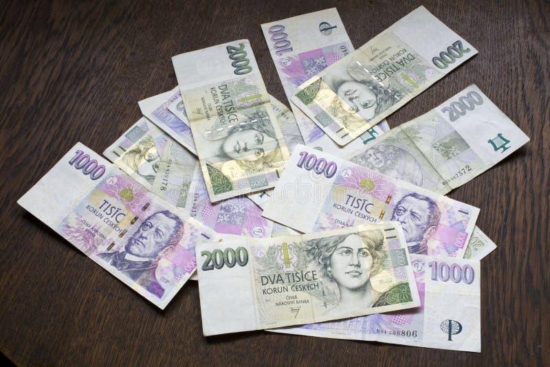 Tschechisches Geld, tschechische Kronen stockfoto
