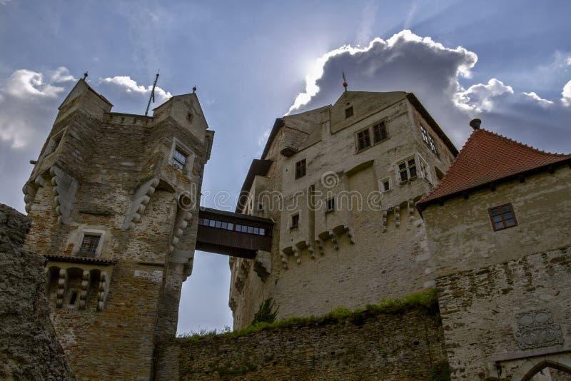 Tschechisches gotisches mittelalterliches Schloss Perntejn S?d-Moravian-Region, Tschechische Republik Errichtet zu Beginn des Jah stockbild