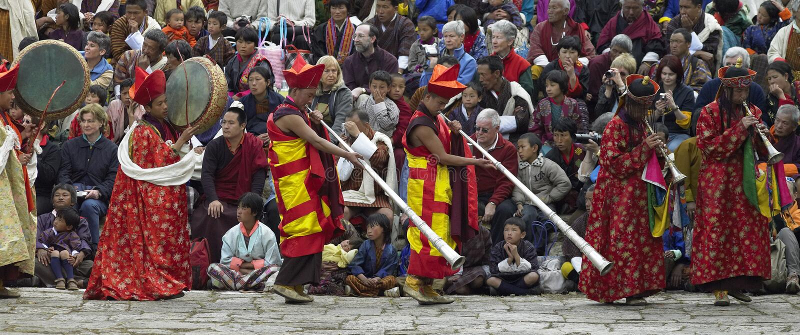 tsechu för bhutan kungarikeparo royaltyfri foto