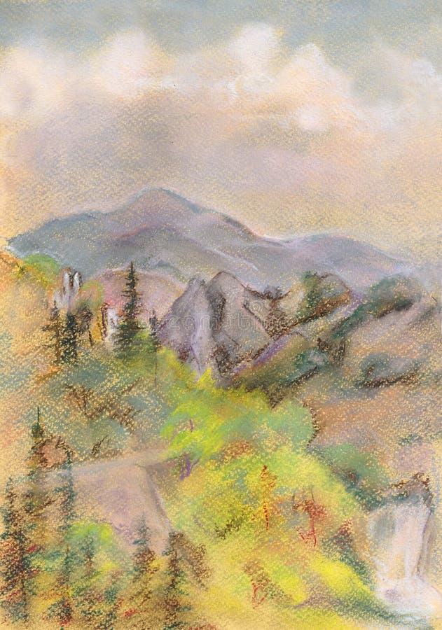 Download Tsey D'ossetia De Hautes Montagnes De Caucase Illustration Stock - Illustration du horizontal, bois: 45370565