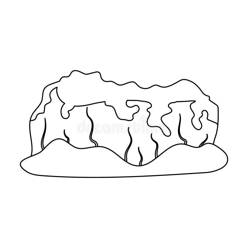 tsey för caucasus hög bergossetia räknade skogberg Enkel symbol för olika berg i materiel för symbol för översiktsstilvektor stock illustrationer