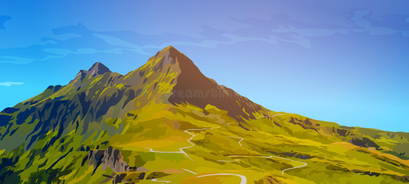 tsey ossetia высоких гор caucasus иллюстрация вектора