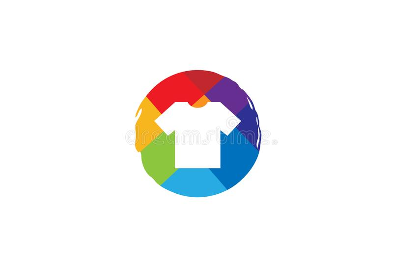 Tshirt colorido Logo Design Symbol Vetora Illustration da circular colorida criativa ilustração stock